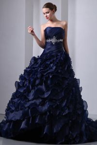 Navy Blue Ruffles Rhinestone Taffeta And Organza Quinceanera Gown
