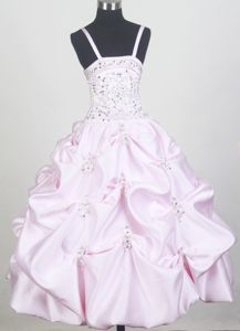 Baby Pink Spaghetti Straps Pick Ups Pageant Dress for Little Girls