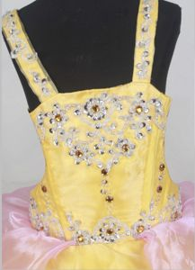 Beading Straps Organza Kids Pageant Dress with Appliques and Layers