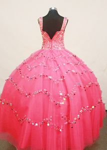 Custom Made Little Girl Pageant Dress with Multi-color Sequins