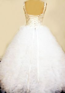 Beaded White Little Girl Pageant Gown Dress with Compact Ruffles