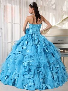 Blue Beaded Ruched Organza Dress For Quince with Ruffles