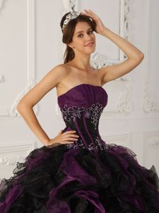 Purple And Black Beaded Organza Quinceanera Dress with Ruffles
