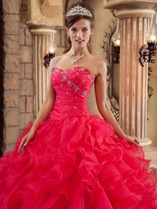 Coral Red Beaded Sweetheart Organza Ruffles Quinces Dresses