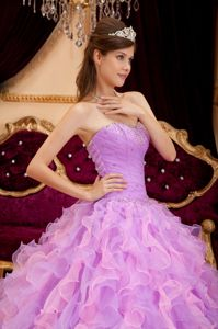 Lavender Sweetheart Beaded Ruffles Organza Dress For Quinceanera
