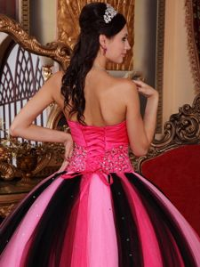 Multi-colored Floor-length Beaded Strapless Tulle Sweet 16 Dresses