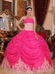 Hot Pink Strapless Beaded Organza Sweet 15 Dresses with Ruffles