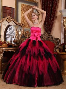 Red Strapless Beaded Tulle Quinceaneras Dress with Bowknot