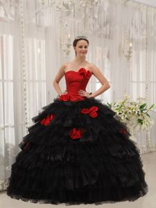 Black And Red Halter Ruffles Hand Flowers Quinceanera Gown Dresses