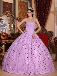 Lavender Sweetheart Beaded Tulle Quinceanera Gown with Sequins