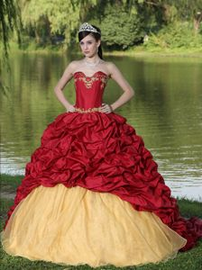 Red And Yellow Brush Train Dress For Quinceanera with Appliques