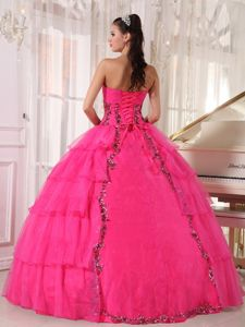 Eye Catching Hot Pink Beaded Quinceanera Gown Dress