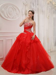 Popular Organza Red Lace-up Appliqued Dress for Quinceanera