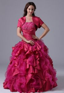 Fuchsia Ruffled Beaded Floor-length Sweetheart Dress for Quince