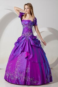 On Sale Purple Lace-up Embroidery Pick Ups Quinceanera Gown