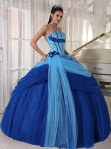 Discount Blue Strapless Tulle Beaded Quinceaneras Dress with Ruffles