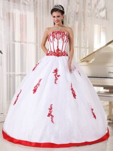 White Strapless Satin And Organza Quinceaneras Dress with Red Appliques