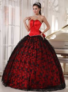 Red Strapless Taffeta And Tulle Dress For Quinceanera with Black Lace