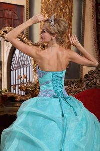 Baby Blue Strapless Organza Sweet 15 Dresses with Appliques And Ruches