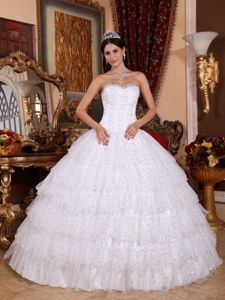 White Ball Gown Strapless Layered Beaded Taffeta Quinceanera Gown