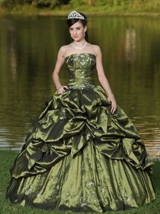 Olive Green Strapless Dresses for Quince with Pick-ups and Appliques