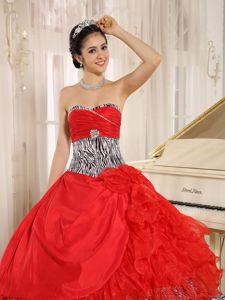 Strapless Multi-layer Dress for Quinceanera Organza with Zebra Printing
