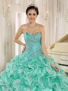 Sweetheart Beading Quinceanera Gowns Ruffled Layers in Apple Green