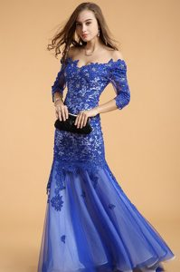 Custom Made Mermaid Off the Shoulder Lace Royal Blue Zipper Mother of the Bride Dress Beading Sleeveless Floor Length