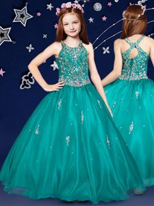 Scoop Sleeveless Pageant Dress Toddler Floor Length Beading Teal Organza