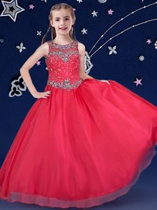 Custom Designed Scoop Red Ball Gowns Beading Custom Made Pageant Dress Zipper Organza Sleeveless Floor Length