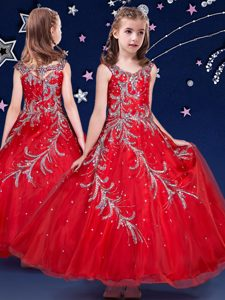 Fashionable Scoop Sleeveless Zipper Pageant Dress Red Organza