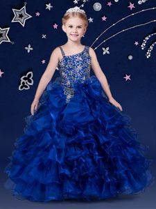 Most Popular Royal Blue Ball Gowns Asymmetric Sleeveless Organza Floor Length Lace Up Beading and Ruffled Layers High School Pageant Dress