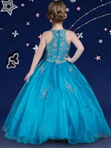 Ball Gowns Pageant Dress Blue Scoop Organza Sleeveless Floor Length Zipper