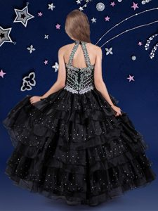 Fashion Ruffled Halter Top Sleeveless Zipper Pageant Dress for Teens Black Organza