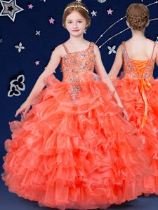Orange Organza Lace Up Pageant Dress for Womens Sleeveless Floor Length Beading and Ruffled Layers