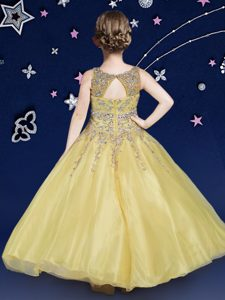 Scoop Beading Pageant Dress Toddler Gold Zipper Sleeveless Floor Length