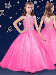 Halter Top Organza Sleeveless Floor Length Custom Made Pageant Dress and Beading
