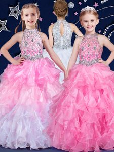 Halter Top White and Pink And White Sleeveless Floor Length Beading and Ruffles Zipper Pageant Dresses