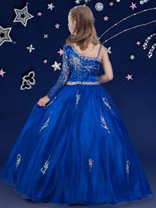 Royal Blue Organza Zipper Pageant Dresses Sleeveless Floor Length Beading