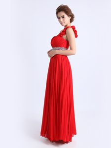 Red One Shoulder Zipper Beading and Ruching and Pleated Mother of Bride Dresses Sleeveless