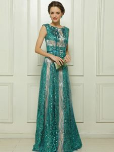 Scoop Sleeveless Tulle Floor Length Zipper Mother of Bride Dresses in Teal with Beading and Sequins