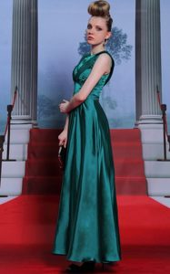 Teal Column/Sheath Scoop Sleeveless Chiffon Floor Length Side Zipper Belt Mother of Bride Dresses