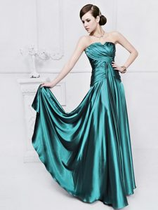 Teal Elastic Woven Satin Lace Up Strapless Sleeveless Floor Length Mother of the Bride Dress Ruching