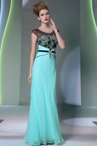 New Style Scoop Sleeveless Mother of Groom Dress Floor Length Appliques Teal Chiffon