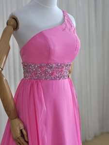 Super One Shoulder Sleeveless Beading Lace Up Mother of Groom Dress with Rose Pink Brush Train