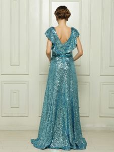Teal Sleeveless Floor Length Sequins and Bowknot Zipper Mother of Bride Dresses