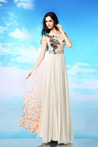 Stylish Scoop Sleeveless Ankle Length Appliques and Ruching and Pattern Side Zipper Mother of the Bride Dress with White
