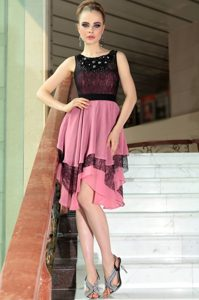 Nice Empire Mother of Groom Dress Pink And Black Scoop Chiffon Sleeveless Asymmetrical Side Zipper