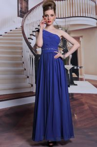 Royal Blue One Shoulder Neckline Beading and Pleated Mother of Bride Dresses Sleeveless Side Zipper