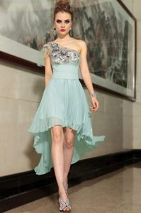 Glittering Pleated Empire Mother of the Bride Dress Light Blue One Shoulder Chiffon Sleeveless High Low Side Zipper